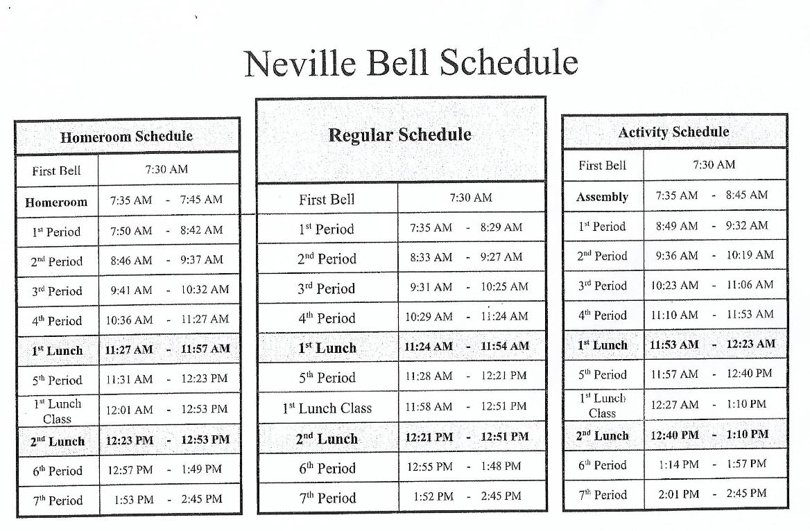 NHS Schedules 2019-2020